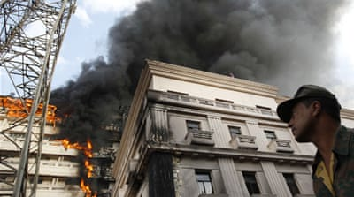 Fire burns at Egyptian Interior Ministry
