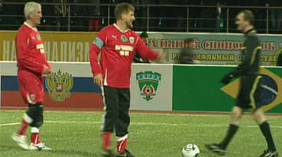 Kadyrov tests football skills