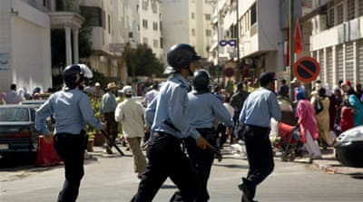 Moroccan police beat up protesters