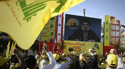 Hezbollah's Hassan Nasrallah, Bashar al-Assad, and Mahmoud Ahmadinejad in Damascus in 2010 [SANA]