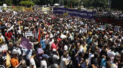 Spaniards protest against economic cuts