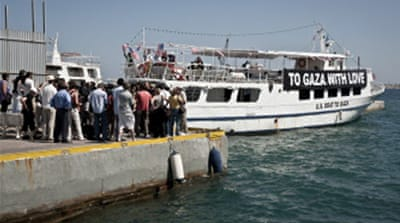 US Gaza-bound boat towed back to Greek port
