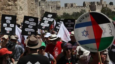 Palestinians and Israelis march together