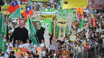Mass protest against Hong Kong government