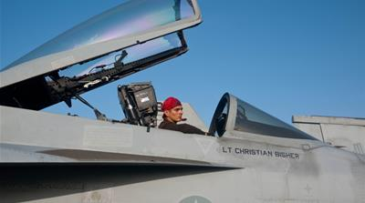 Filming on the USS Ronald Reagan