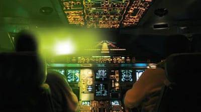Russian air travel troubled by laser torches