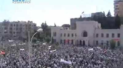 'Half a million' protest on streets of Hama