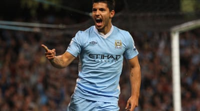 Aguero scores double on Man City debut