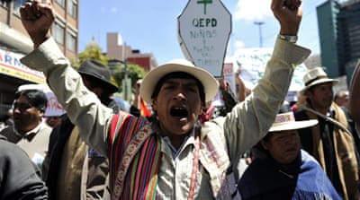 Bolivia president pauses highway construction