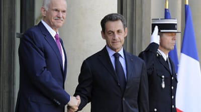 Sarkozy 'reassured' by Greek PM's pledge
