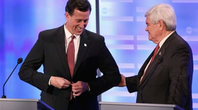 Santorum and Gingrich need each other to stay in the race if either hopes to win the nomination [GALLO/GETTY]