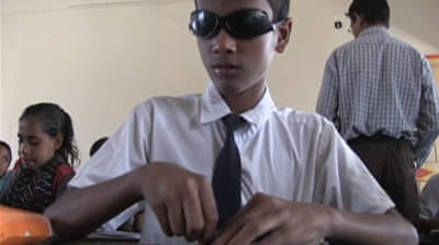 Blind Bangladesh child joins dots to success