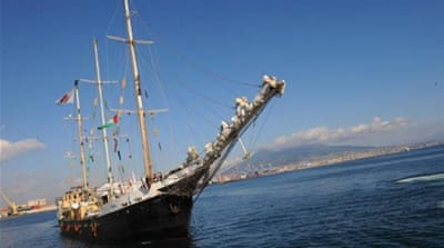 "The yacht sailed from Naples, Italy on October 6 as part of the ""Freedom Flotilla"" movement [AFP]"