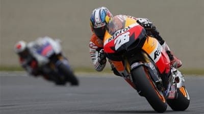 Pedrosa's win moves him to within 28 points of the Yamaha rider, stepping up his bid to overtake his fellow Spaniard for his first MotoGP title [Reuters]