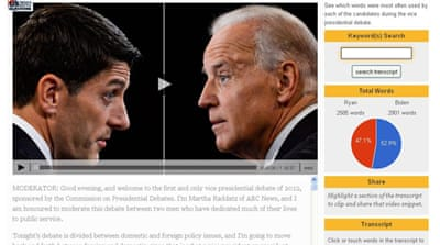 Biden vs Ryan: Interactive video transcript