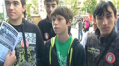 Spanish students join anti-austerity campaign