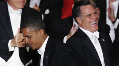 Obama and Romney trade barbs over dinner