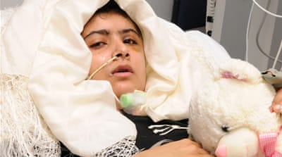 Malala Yousufzai is recovering from surgery in the United Kingdom after being shot by a Taliban gunman [Reuters]