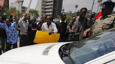 "The demonstrators carried placards with messages saying ""MPs are thieves"" and ""greedy hyenas""  [EPA]"