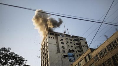 An Israeli air strike on a media building in Gaza on Saturday wounded six journalists [AFP]