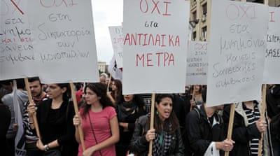 Greeks continue to protest against austerity measures needed to secure bailouts for the ailing economy [AFP]