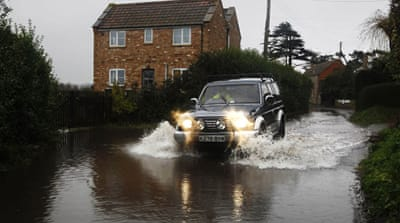 In Somerset, in the southwest, a man died after his car plunged into a swollen river in a flooded area [AFP]