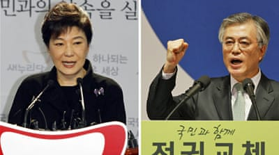 Ruling party candidate Park Geun-hye (L) will face off with opposition leader Moon Jae-in (R). [Reuters]