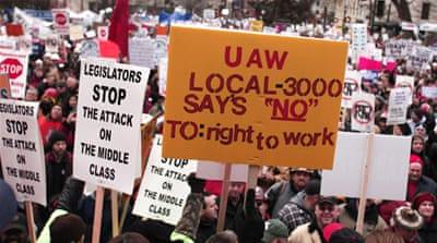 Protests as Michigan passes 'anti-union' law