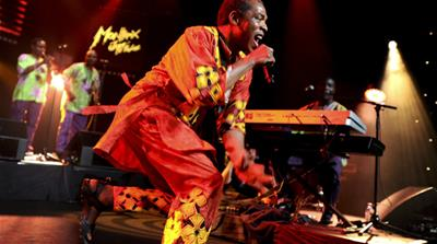 Performer Femi Kuti, the son of the late Afrobeat legend Fela Kuti, plays at Lagos' Shrine venue twice weekly when he is in town [AP]