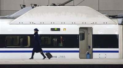 The rail line includes 35 stops in major cities between Beijing and Guangzhou[AFP]