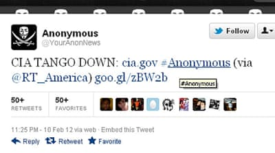 Anonymous 'takes down' CIA website