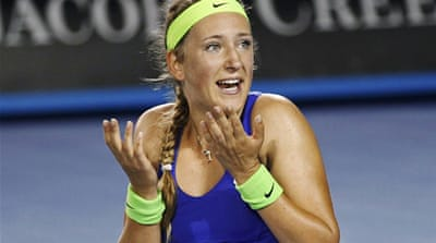 Belarus' Azarenka warms up for Qatar Open