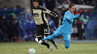 Zenit edge past Benfica