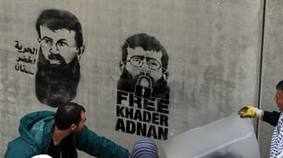 Khader Adnan has been on hunger strike for more than two months in protest at his detention in Israel [EPA]