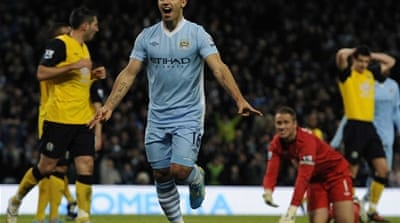 Manchester City's Sergio Aguero celebrates scoring against Blackburn Rovers in Manchester [Reuters]