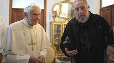 Pope criticises US embargo on Cuba