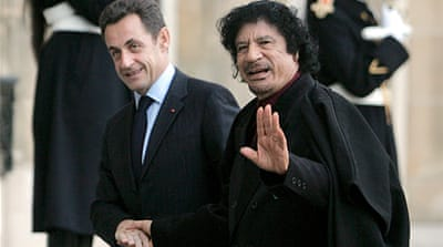 Nicolas Sarkozy welcomed Libyan leader Muammar Gaddafi at the Elysee in December 2007 [EPA]