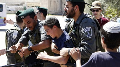 Israeli police removed 15 settlers from the residence, most of whom were women and children [Reuters]
