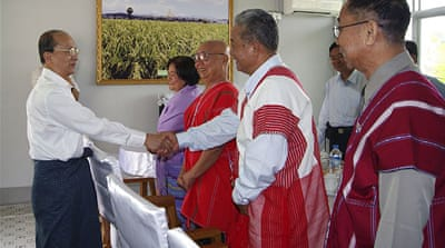 The meeting comes after an historic by-election on Sunday won by the opposition leader Aung San Suu Kyi [Reuters]