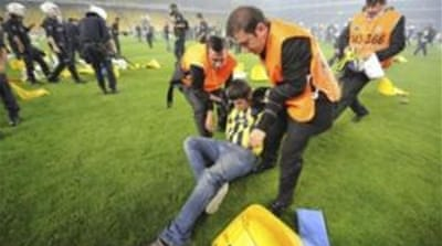 Rival fans riot at Turkish football match