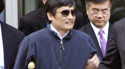 "Chen Guangcheng won plaudits for exposing rights abuses under China's ""one-child"" family planning policy [AFP]"