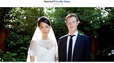 Zuckerberg published a wedding picture on his Facebook profile