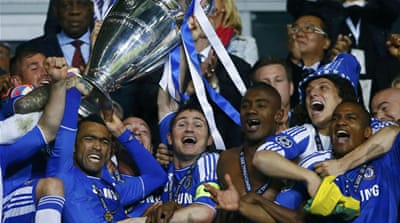 Chelsea players lifted the European Cup for the first time in the London club's history [Reuters]