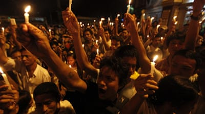 The evening march at Yangon's Sule Pagoda was the first since protests in 2007 were crushed by the military [Reuters]