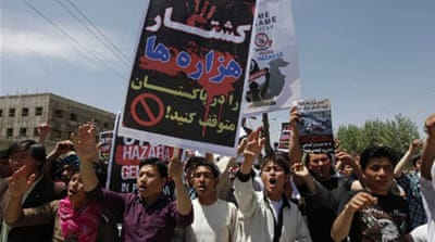 Protesters say there has been a surge in the killings of Hazara Shia in Balochistan province [AFP]