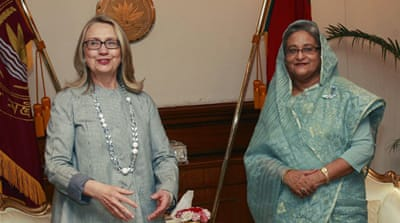 Clinton calls for Bangladesh political calm