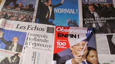 The headline of Liberation alludes to Hollande's pledge to move away from Sarkozy's extravagant manner [Al Jazeera]