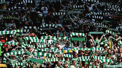 Celtic FC supporters' solidarity with left-wing causes is thought to stem from historic prejudice and exclusion faced by Catholic immigrants in Glasgow [GALLO/GETTY]