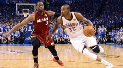 The series is Heat against Thunder, but the real battle is between LeBron James, left, and Kevin Durant who are both chasing their first championship title [EPA]