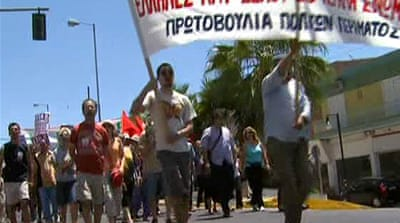 Locals protest against Greek racist attacks